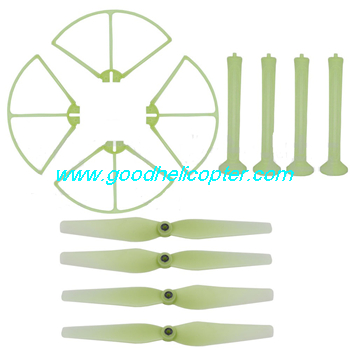 SYMA-X8HC-X8HW-X8HG Quad Copter parts Blades + Undercarriage + Protection cover (Green fluorescence color)