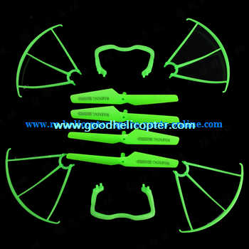 SYMA-X5-X5A-X5C Quad Copter parts plastic protection cover set + main blades + undercarriage (Green)