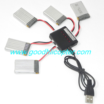 SYMA-X5S-X5SC-X5SW Quad Copter parts 5pcs 3.7v 500mAh battery + 1 To 5 charger set (x5s x5sw x5sc)