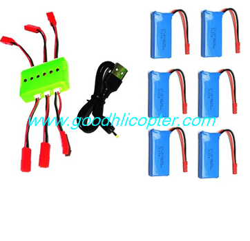 Wltoys JJRC V686 V686G V686K V686J V686L V686M DV686 DV686G quadcopter parts 1 To 6 charger set + 6pcs 3.7v 780mah battery